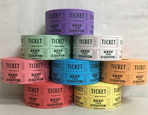 Raffle Tickets Roll of 1000 50/50 Double Stub Split the Pot Carnival Fund Raiser
