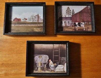 3 Country Primitive Farmhouse Barn Cow Rooster Shadow Box Signs Set Home Decor