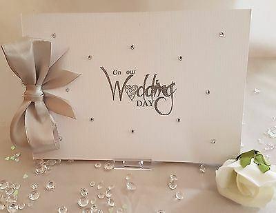 Diamante & Embossed On Our Wedding Day Guest Book*Photo Album + Guest Book Sign ()
