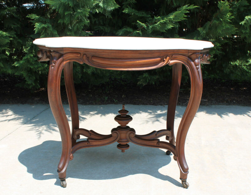 Large Victorian Turtle Shaped Marble Top Walnut Center Parlor Table c1870