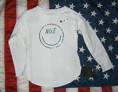 Nike Smily / Smile Lang Arm Shirt Weiss Silbernes Logo Gr. 4T / 98-104?  NEU Nike Baby Langarm