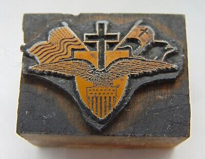Printing Letterpress Printers Block Cross Shield Eagle Flags