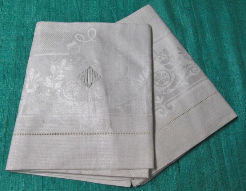 Antique 2 Linen Damask Towels H D P Monogram Garlands Medallions Unused w/ Label
