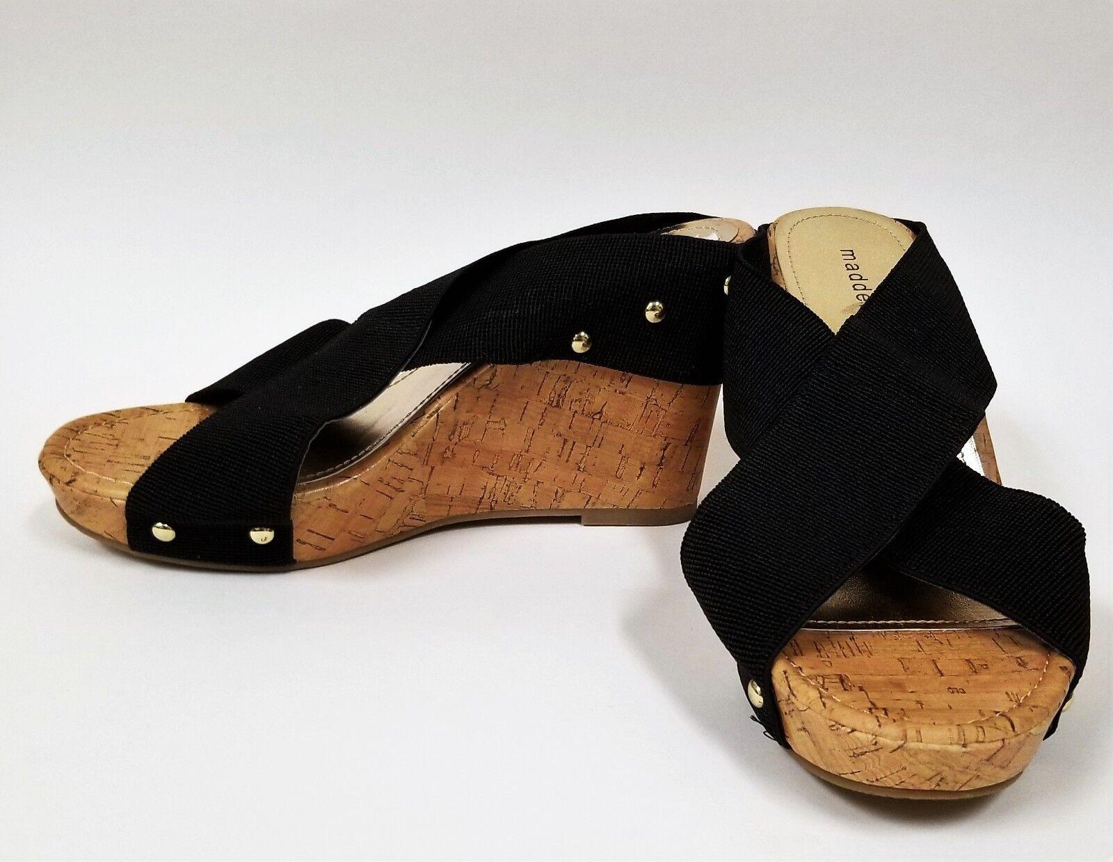 NEW MADDEN GIRL BLACK FABRIC TOP,BEIGE CORK STYLE WEDGE SOLE