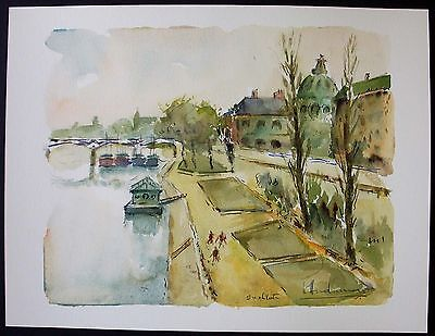 Ferry Boat Station on the Seine River,  Paris, France, Original Watercolor