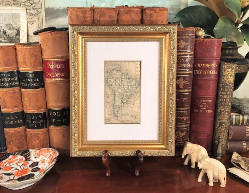 Framed Original 1887 Antique Map SOUTH AMERICA Brazil Argentina Venezuela Peru