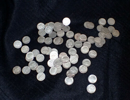 1.5 Rolls (75 coins) Roosevelt and Mercury Dime Mixed 90% Silver Coins