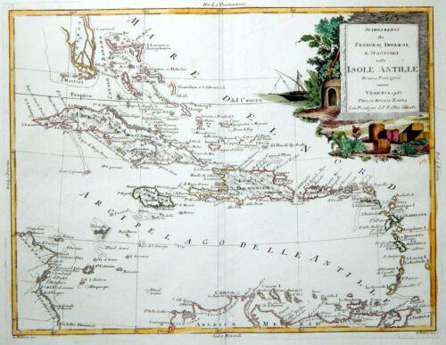 CARIBBEAN ANTILLES SOUTH FLORIDA 1783 ZATTA MAP - Original Antique Cuba Jamaica