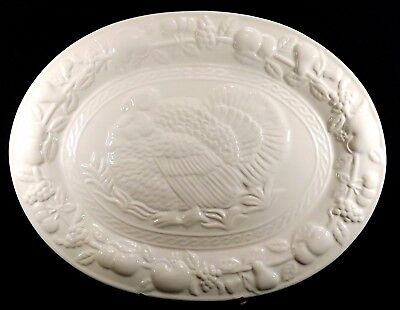 Large Gibson Turkey Oval Banquet Platter White Ceramic 16 1/2