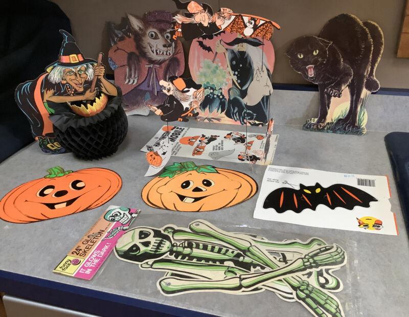 VTG Halloween LOT Mobile MASK Honeycomb Diecut Witch Werewolf Cat Skeletn+ Bonus