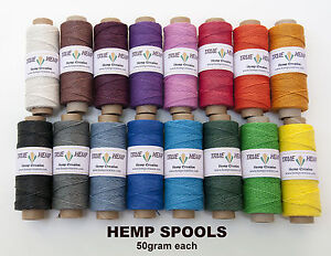 Natural-Hemp-Cord-10lb-0-5mm-310feet-95m-50gram-Spools-in-20-COLORS-AVAILABLE