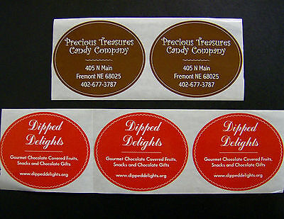 Custom Oval Labels 500 Printed Business Stickers 1 Color Roll Bleed 2-12 X 3