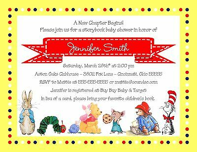 Baby Shower Story Book Characters Invitation Any Colors Boy Girl Neutral - Girl Storybook Characters