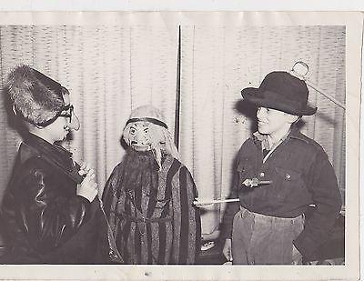 #MISC-0186 -  1940s/1950s PHOTO - 3 PEOPLE IN WEIRD HALLOWEEN COSTUMES (3 People Halloween Costumes)