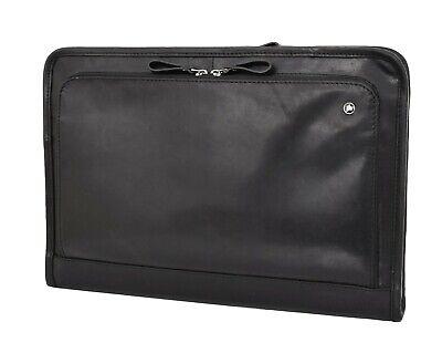 Black Leather Folio Bag Zip Meeting Bailiff Portfolio A4 Document Underarm Case