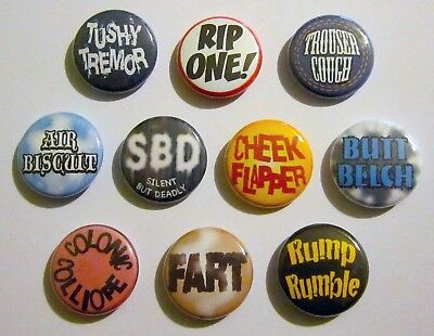 Fart Pins - Pinbacks, Set of 10!