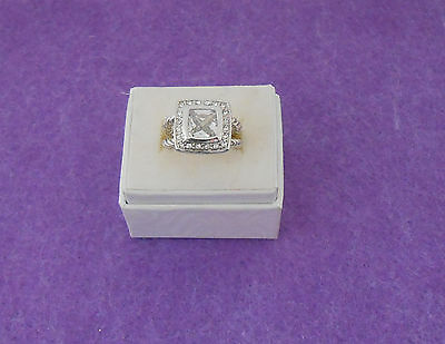 CLEAR COLOR CZ PRINCESS CUT COCKTAIL RING - CLEAR CZ ACCENTS -ROPE BAND - SIZE 7 Clear Princess Cocktail Ring