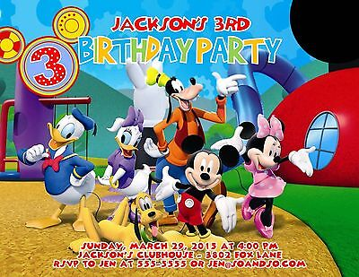 Mickey Mouse Clubhouse Gang Designed Birthday Party Invitation Add - Photo Mickey Mouse Invitations