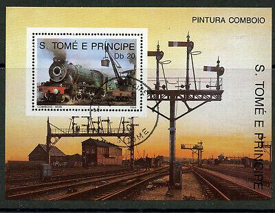 Semaphore Signals Steam Train Souvenir Sheet CTO 1989 St. Thomas & Prince #888
