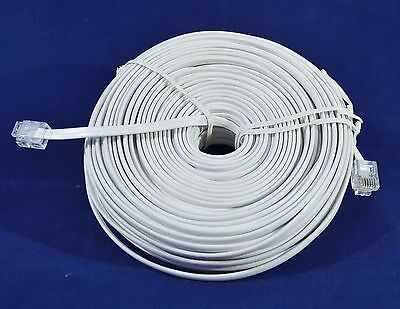 RJ14 WHITE TELEPHONE EXTENSION CORD 100FT PHONE CABLE LINE (RJ11 COMPATIBLE)