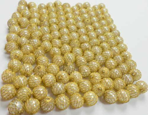 70 Vintage 8.5mm White Faux Pearl Caged Gold Wire Net Meshing Beads Rare