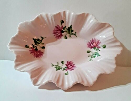 ADDERLEY vintage Trinket Dish Chrysanthemums Lawley England Fine Pink Bone China