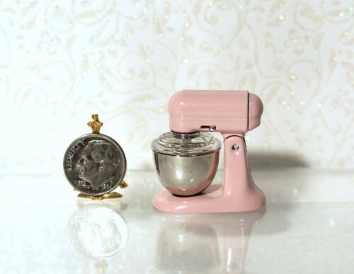 Dollhouse Miniature Pink Metal Stand Mixer