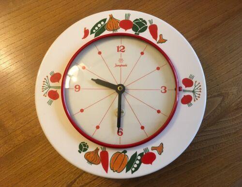 Vtg JUNGHANS Electora 50s 60s Kitchen Clock Vegetable Pattern Ceramic Retro