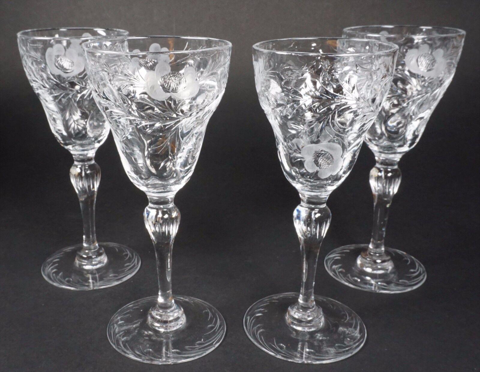 GORGEOUS Thomas Webb Cut Floral Crystal Wine Glasses Stems - Set of 4