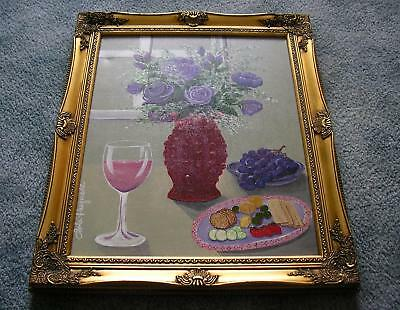 STILL LIFE PURPLE ROSES RED HOBNAIL GLASS WINE GRAPES CHEESE CRACKERS PAINTING