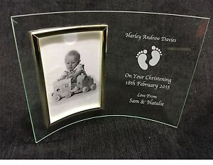 personalised engraved glass 6x4 photo frame birth new baby christening gift ebay. Black Bedroom Furniture Sets. Home Design Ideas