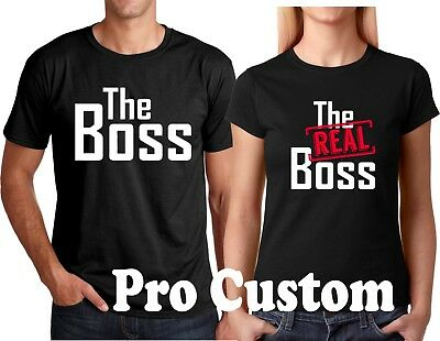 The Boss and The Real Boss Valentine's Gift Couple matching funny cute T-Shirts  - Couples Tshirts