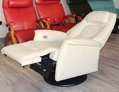 Fjords Stockholm Swing Relaxer Power Electric Recliner Chair - AL Latte Leather