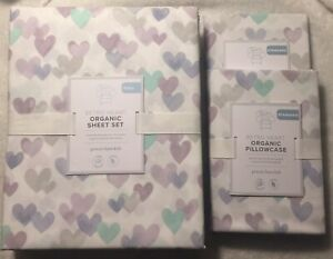 Pottery Barn Kids HEART Sheet Set & 2 Pillow case FULL Reta$175!