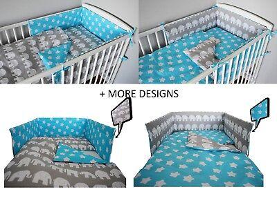 BLUE  ELEPHANT Baby Bedding Set fit Cot 120x60cm or Cot Bed 140x70+MORE (Designer Baby Bedding Sets)
