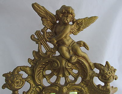 Victorian Gold Gilt Metal Mirror Picture Frame Winged Cherub Playing Lyre Floral