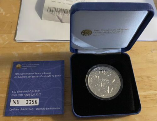 2015 IRELAND 10 EURO 70th Anniversary Peace in Europe Silver Proof Coin KM#85