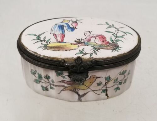 Antique Early European Enamel Snuff Box Porcelain Chinoserie As Is Chinese