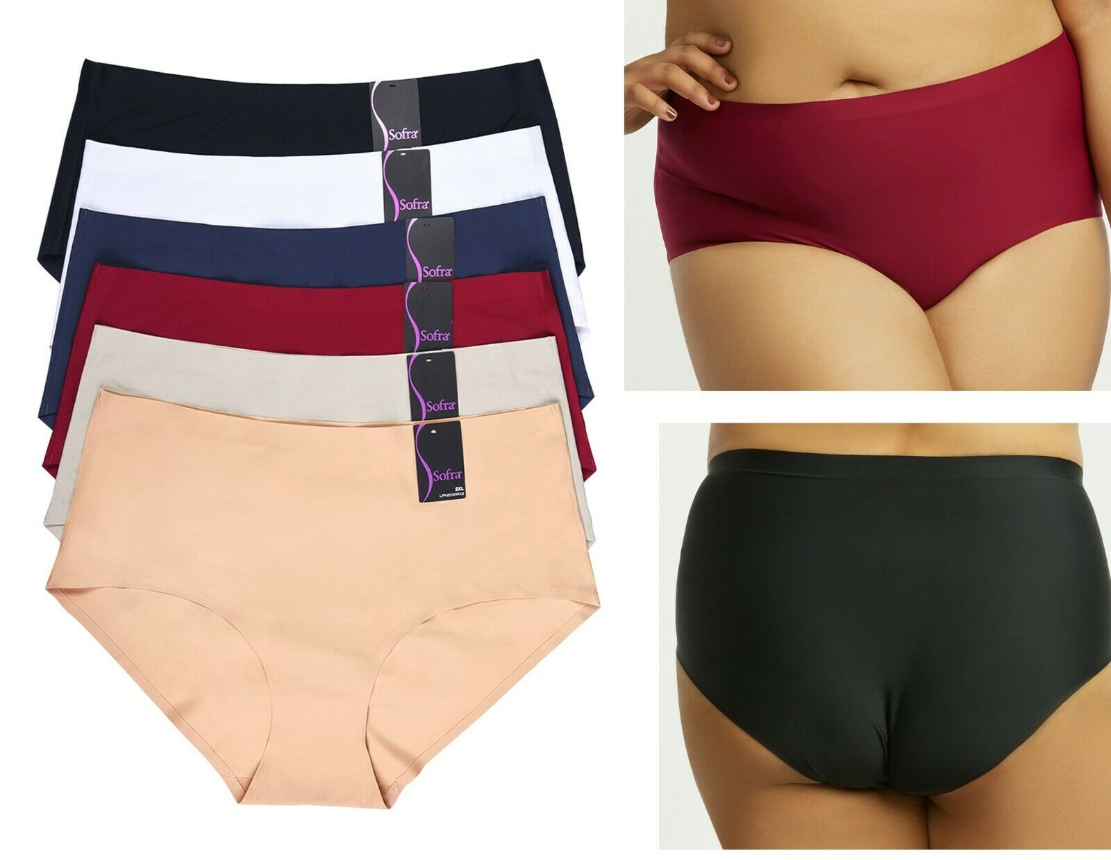 6 Women 2X 3X Plus Size High Waist No Show Ultra Seamless Underwear Brief Panty Clothing, Shoes & Accessories