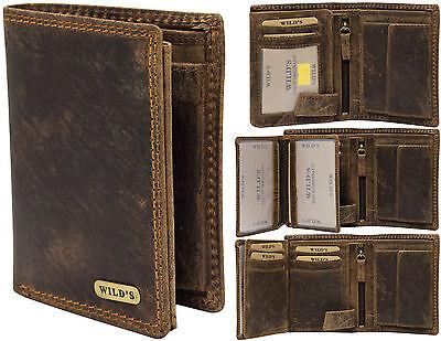 ♥ Herren Leder Brieftasche Geldbörse Portemonnaie Lederbörse Dunkelbraun Vintage