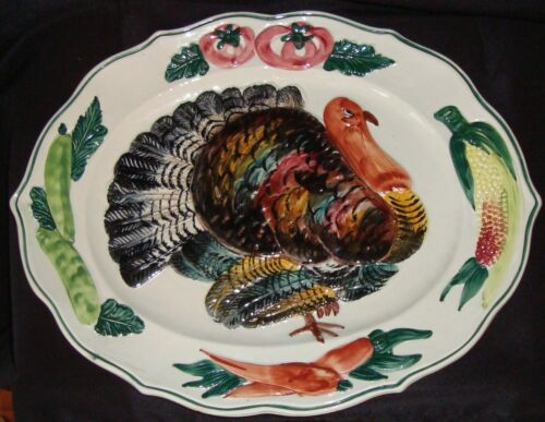 VINTAGE HAND-PAINTED OVAL TURKEY CARVING PLATE (ITALY)