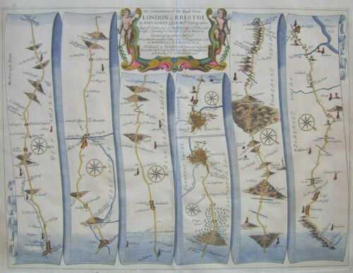 Marlborough-Bristol: antique road map by John Ogilby,1675 (1st edition)