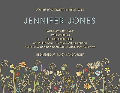 Chalkboard Floral Path Couples Bridal Wedding Shower Invitation Any Colors - Chalkboard Bridal Shower Invitations