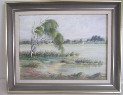 Nice oil painting Sailing on the lake by I E Barratt 39 x 29 cm Prospect Prospect Area Preview