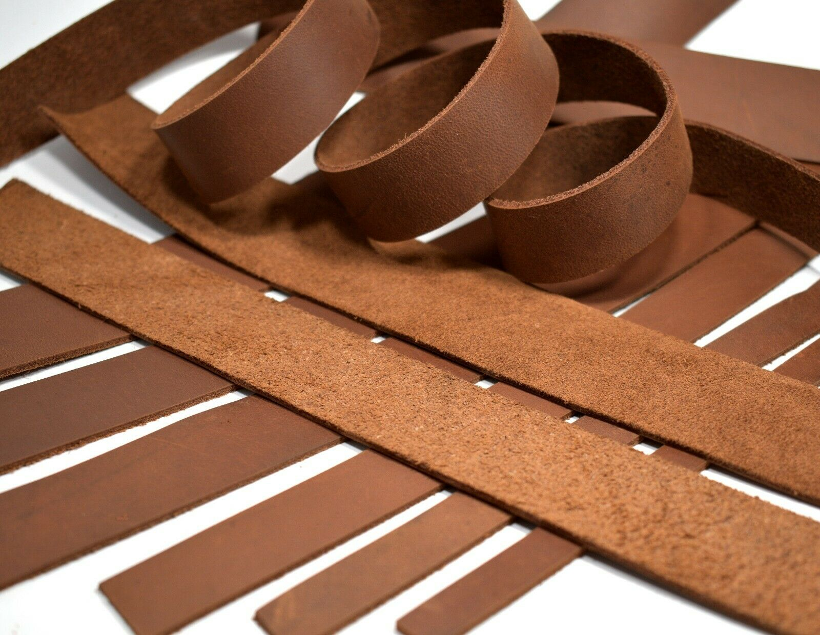 SECONDS: Brown Oil-Tanned Leather  Strap Strip LeatherRush