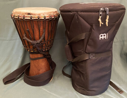 West African Wood Dancing Djembe Drum & Meinl Case