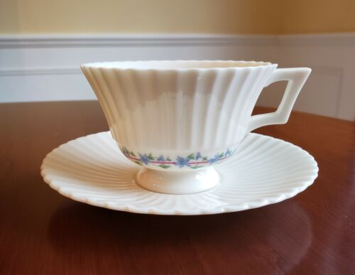 LENOX PRISCILLA Footed Fluted CUP & SAUCER, Green Backstamp, multiple available