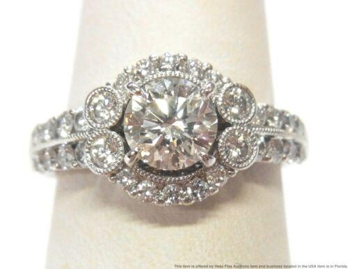 GIA 1ct Round VVS2 J Diamond Center 14k White Gold Engagement Ring Brand New