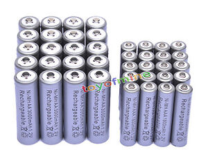 20-AA-3000mAh-20-AAA-1800mAh-1-2V-NI-MH-Rechargeable-Battery-2A-3A-Grey-Cell