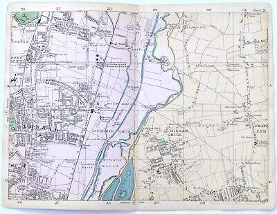 LONDON, 1900 - TOTTENHAM, EDMONTON, HIGHAM HILL, Original Antique Map, Bacon.